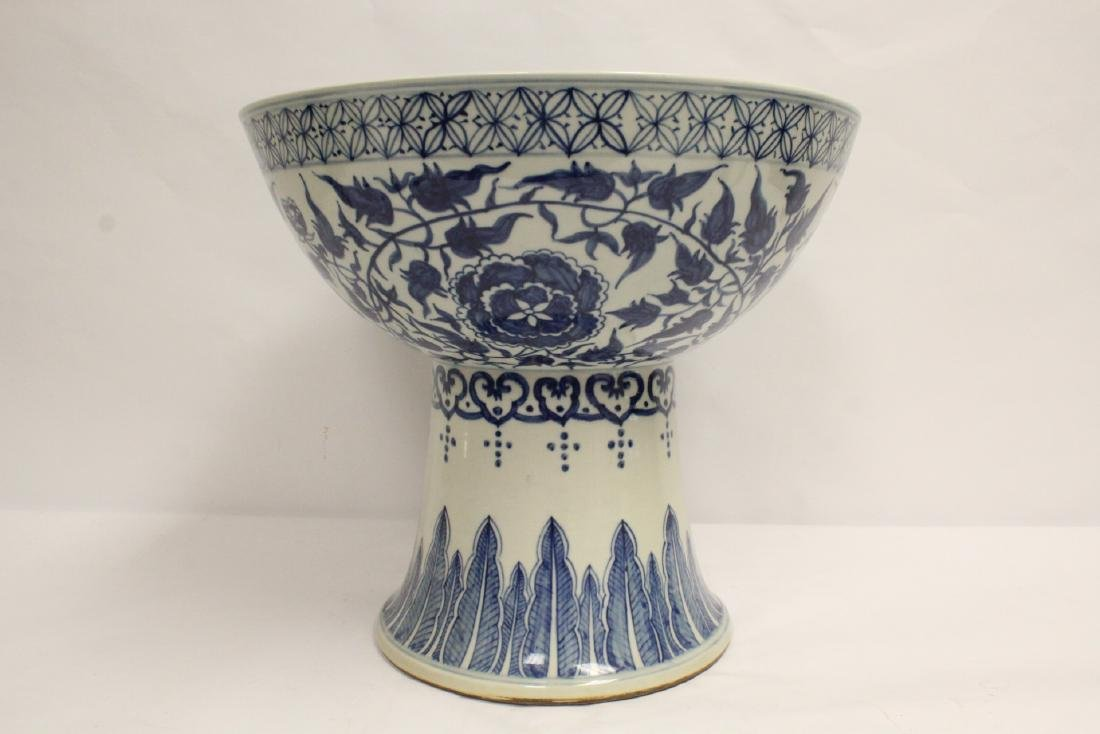 large Chinese vintage b&w porcelain stem bowl - 3