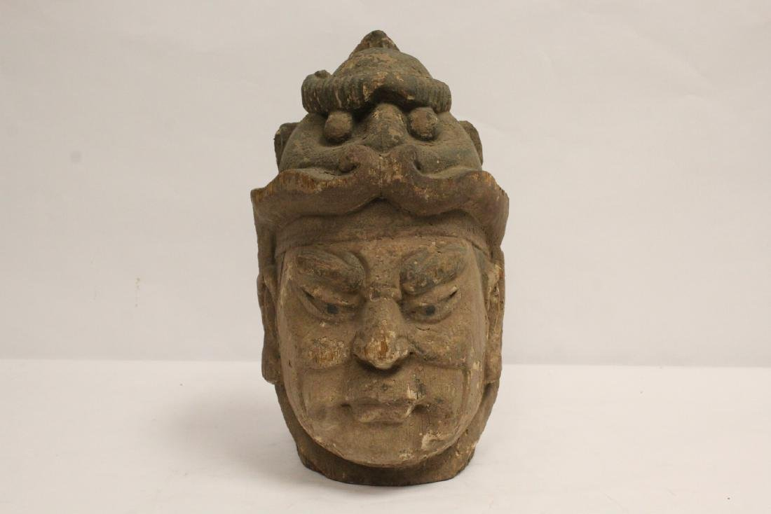 Chinese antique wood carved Buddha head