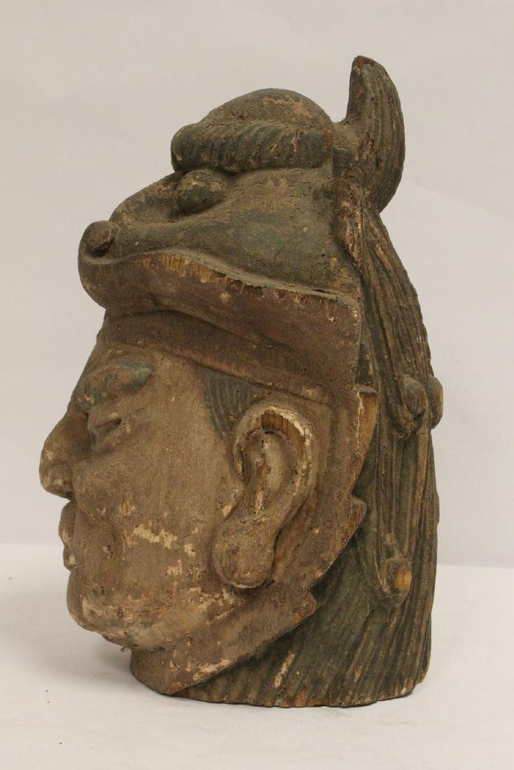Chinese antique wood carved Buddha head - 2