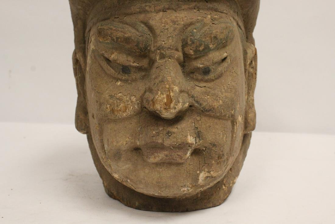 Chinese antique wood carved Buddha head - 7