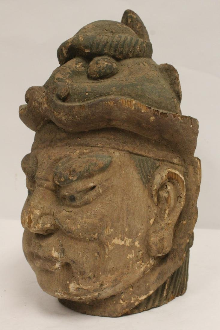 Chinese antique wood carved Buddha head - 8