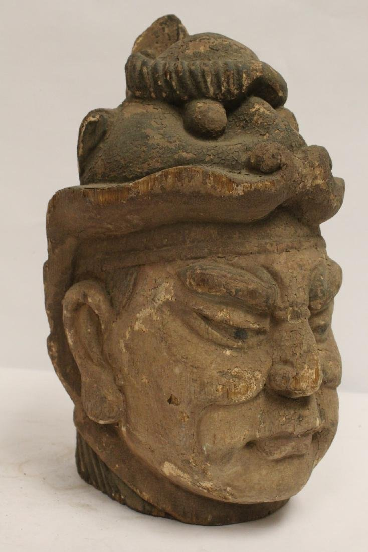 Chinese antique wood carved Buddha head - 9