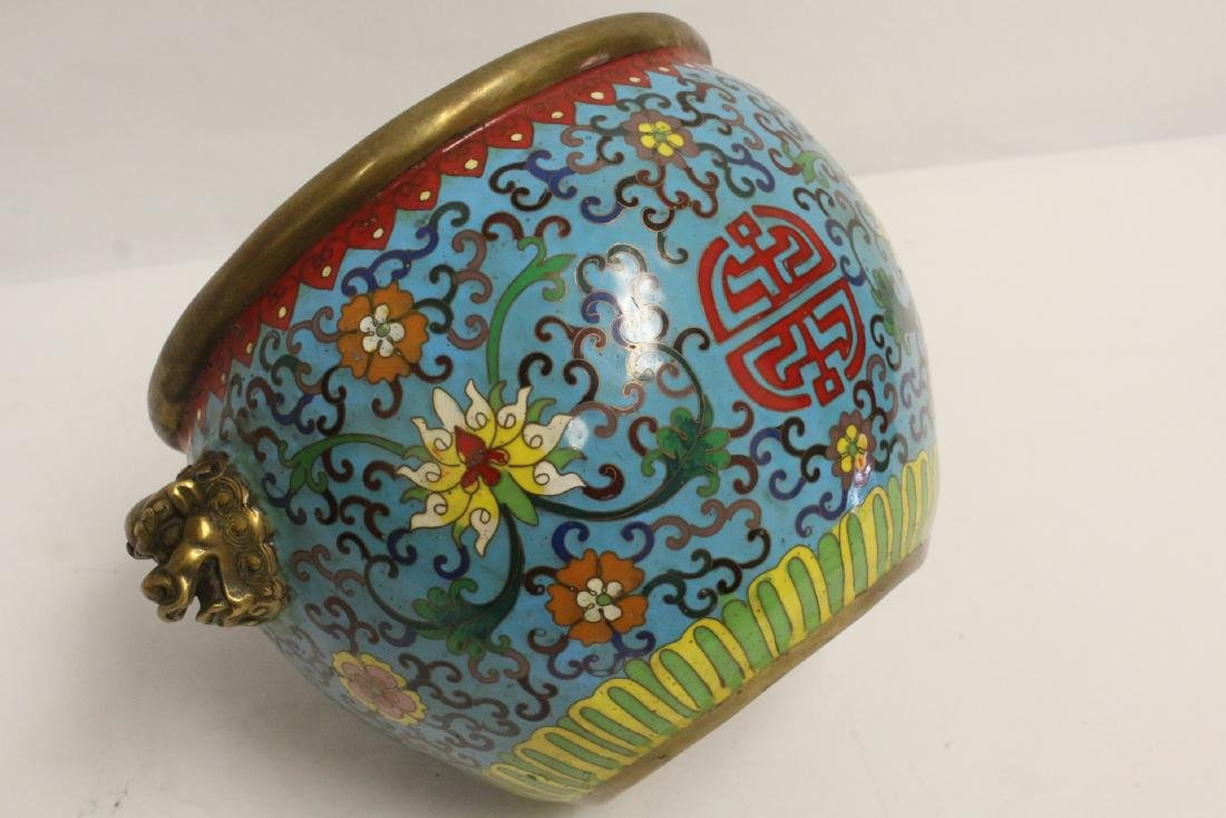 Chinese very heavy bronze based cloisonne basin - 10