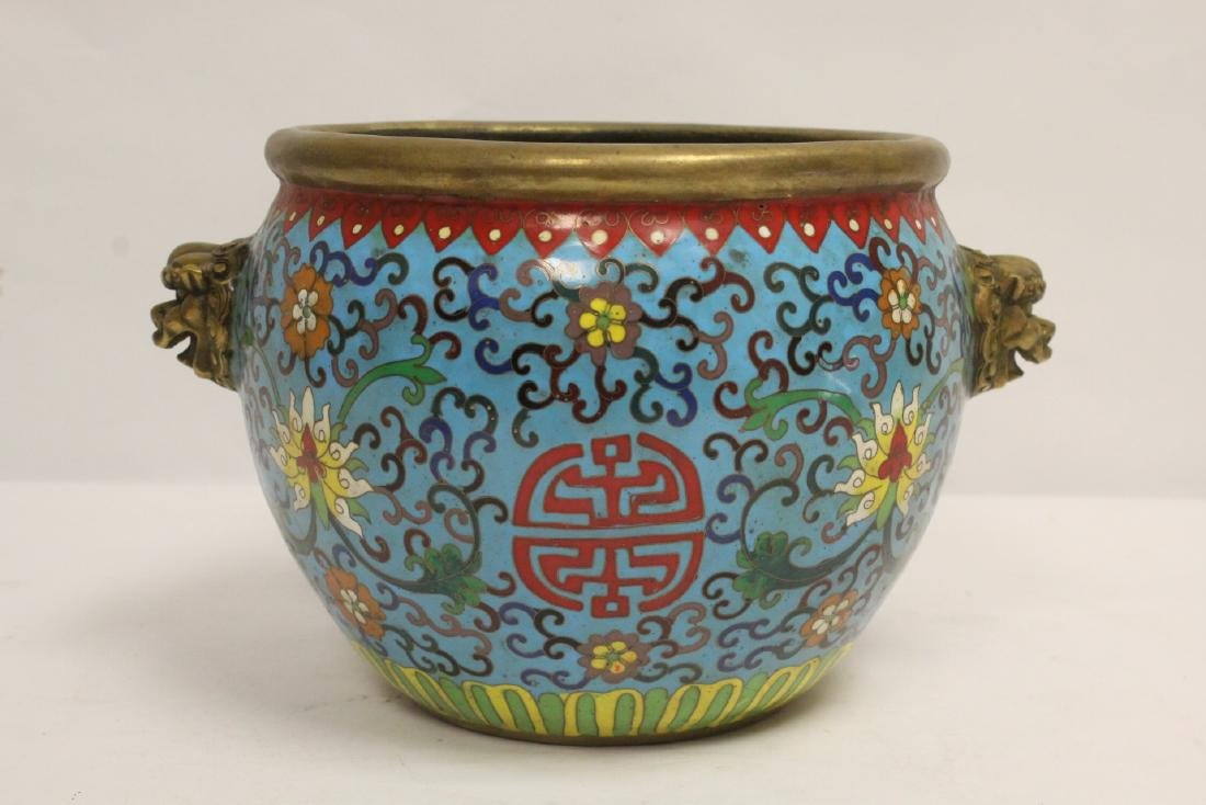 Chinese very heavy bronze based cloisonne basin