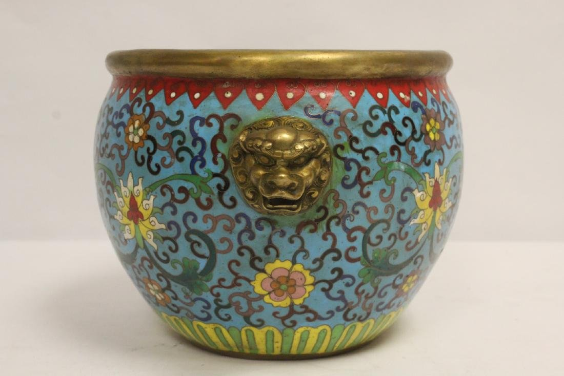 Chinese very heavy bronze based cloisonne basin - 2