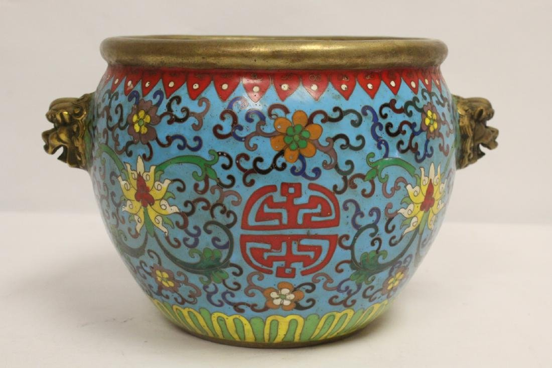 Chinese very heavy bronze based cloisonne basin - 3