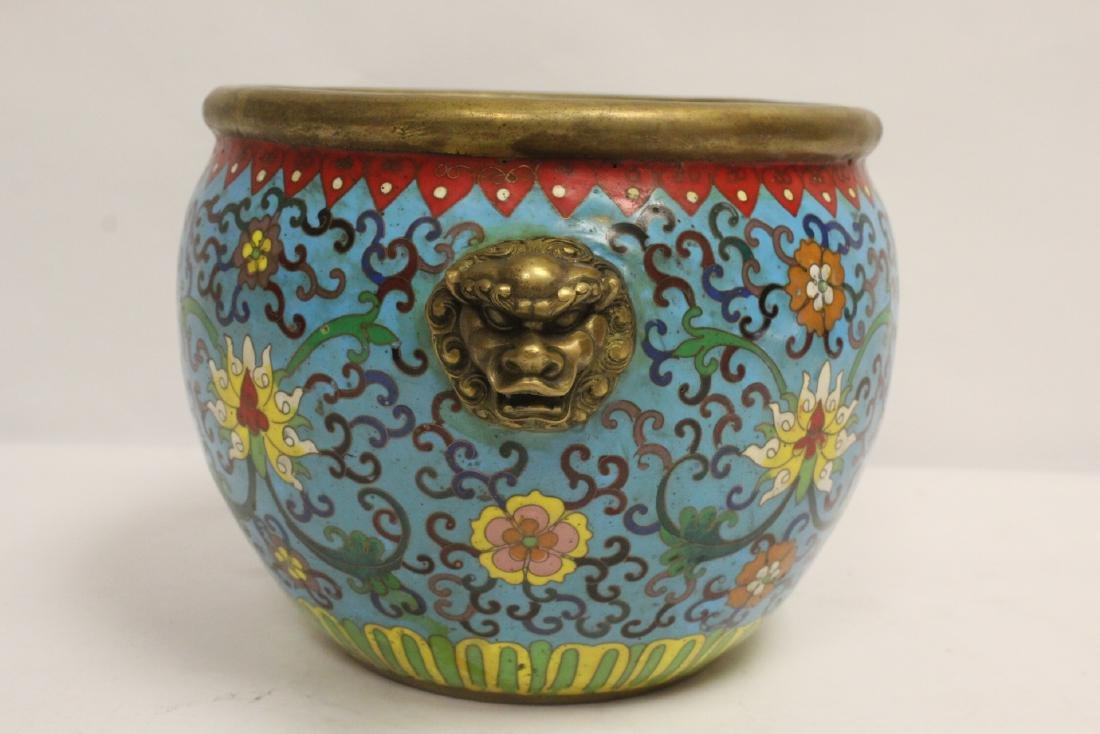 Chinese very heavy bronze based cloisonne basin - 4