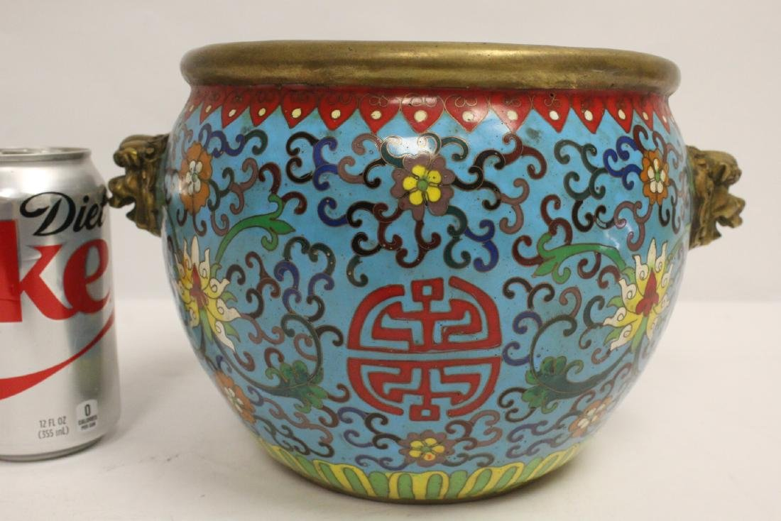 Chinese very heavy bronze based cloisonne basin - 6