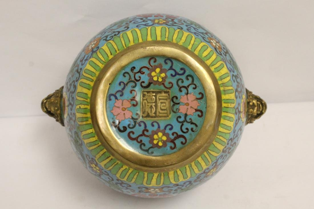 Chinese very heavy bronze based cloisonne basin - 8