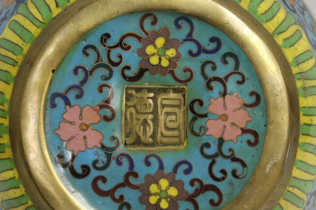 Chinese very heavy bronze based cloisonne basin - 9