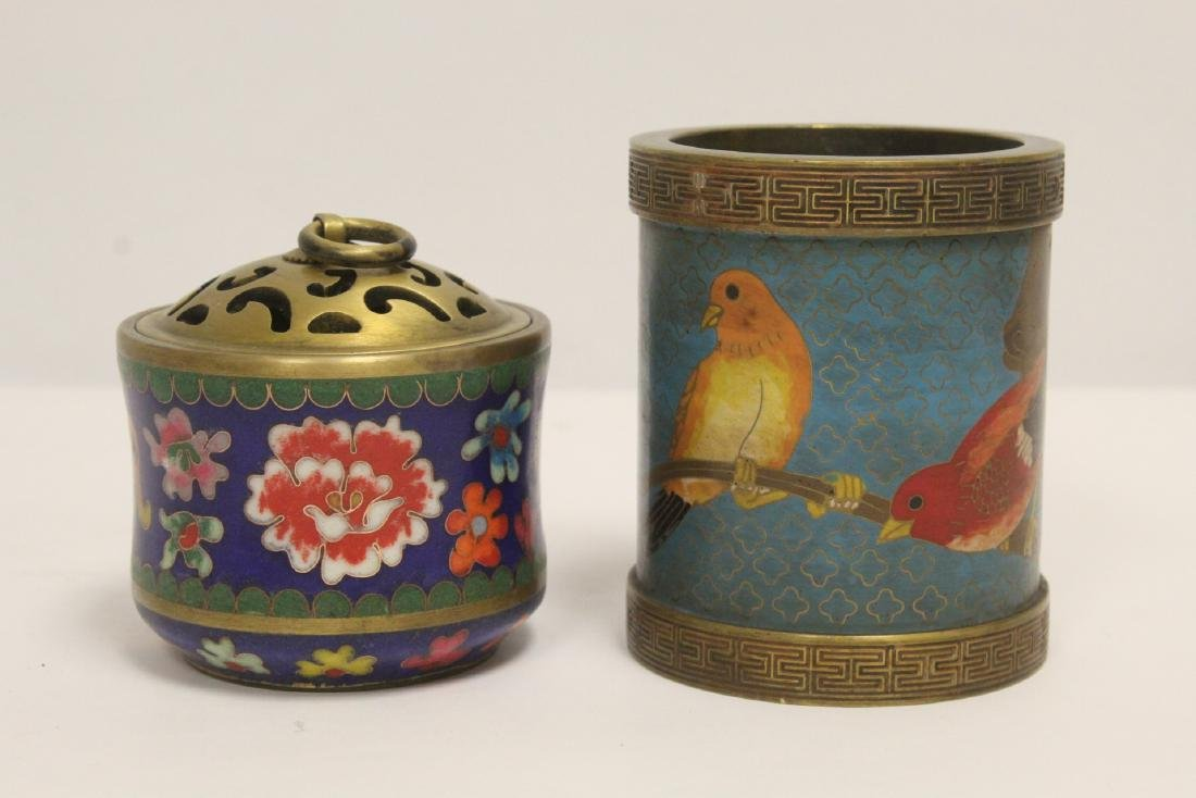 2 very heavy cloisonne on bronze pieces