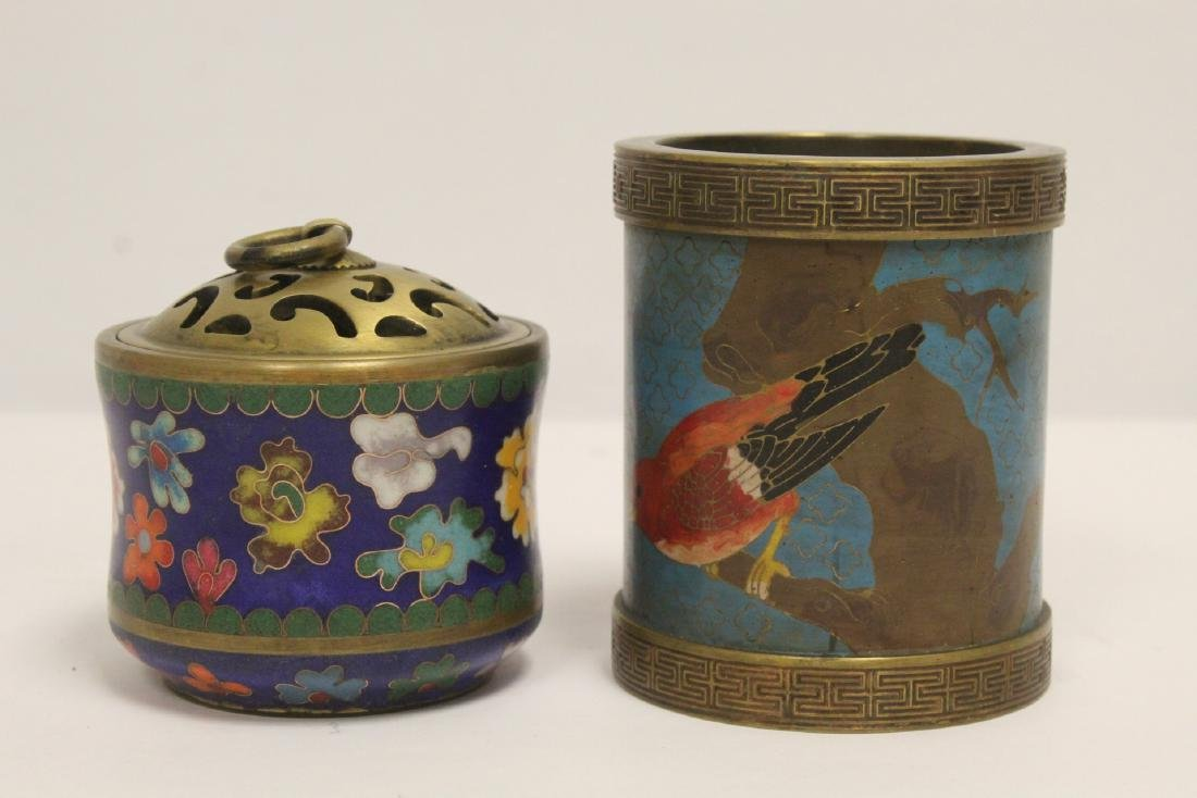 2 very heavy cloisonne on bronze pieces - 2