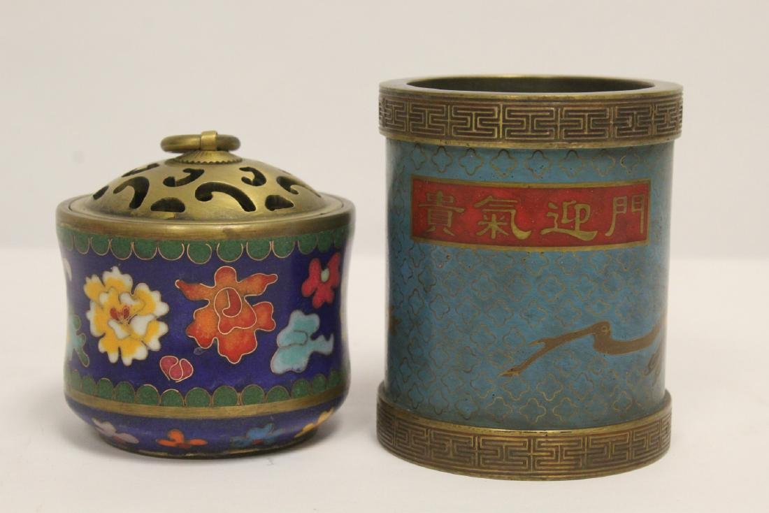 2 very heavy cloisonne on bronze pieces - 3