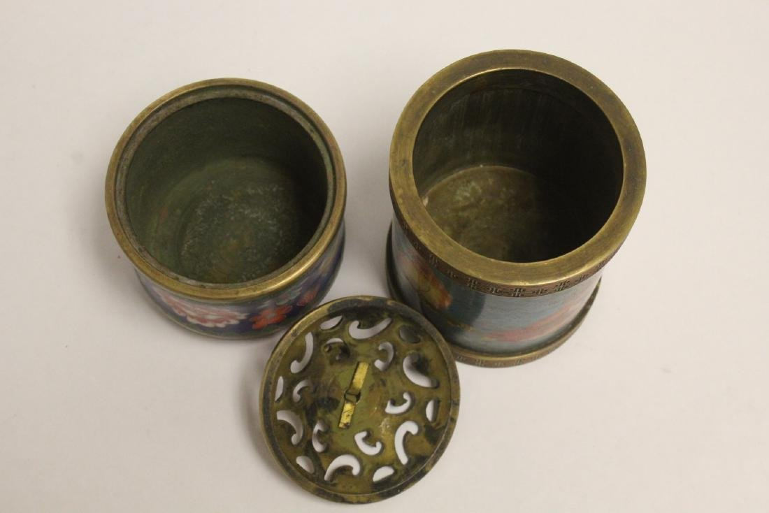 2 very heavy cloisonne on bronze pieces - 6