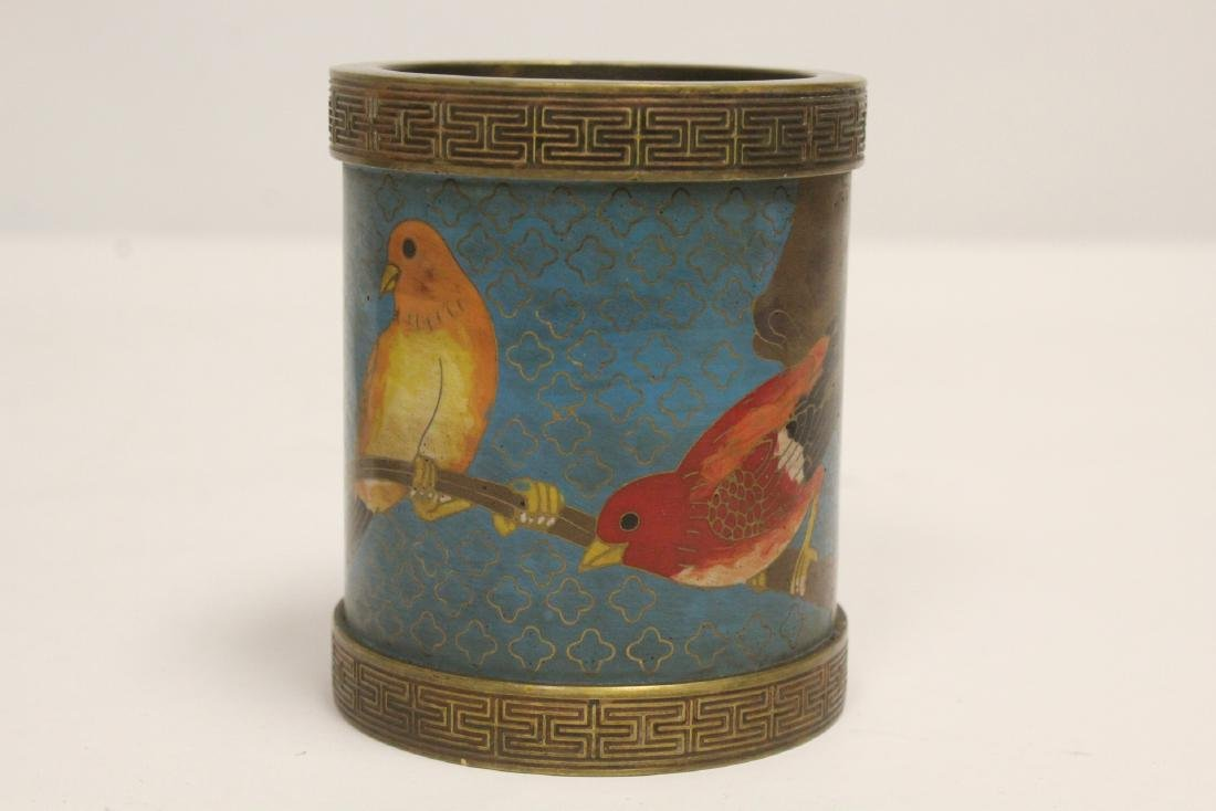 2 very heavy cloisonne on bronze pieces - 8