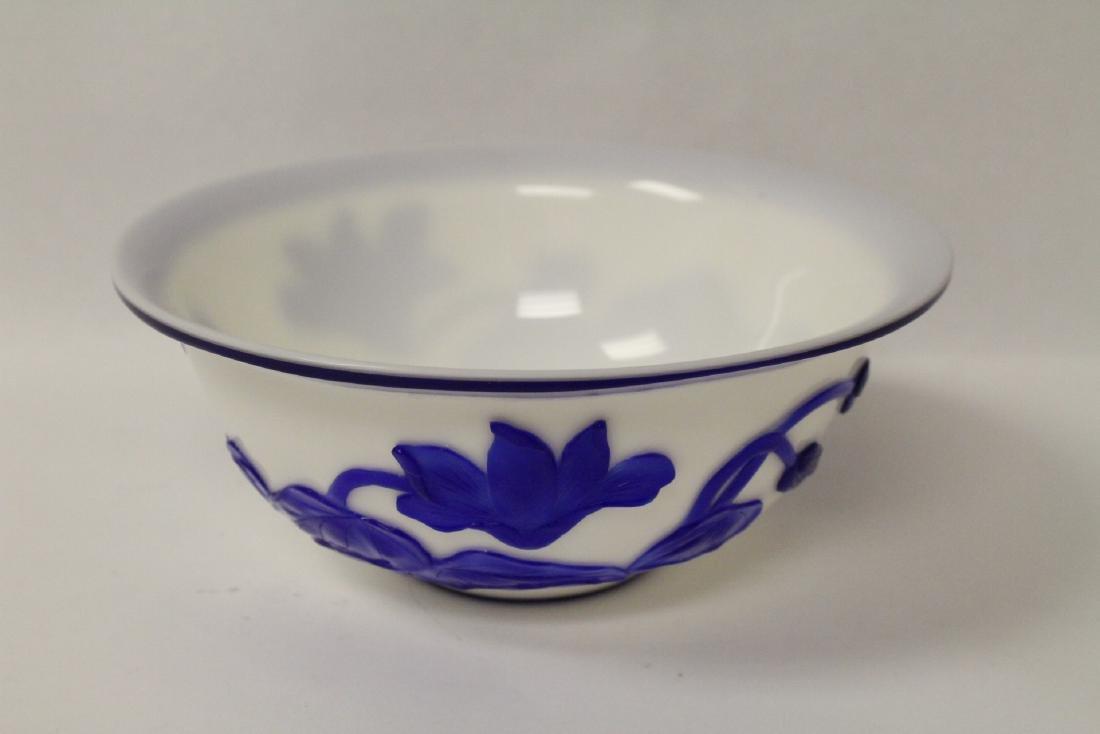 Blue overlay Peking glass bowl - 10