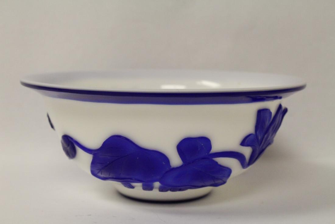 Blue overlay Peking glass bowl