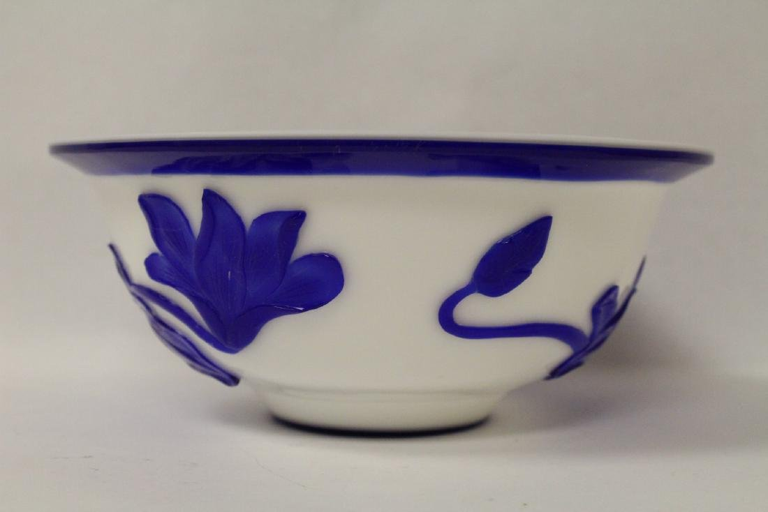 Blue overlay Peking glass bowl - 2