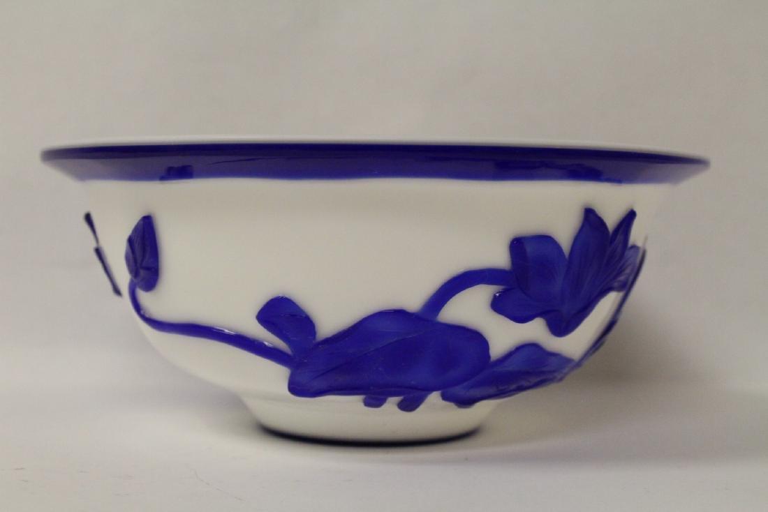 Blue overlay Peking glass bowl - 3