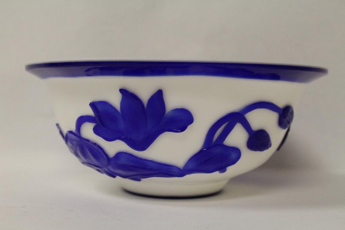 Blue overlay Peking glass bowl - 4