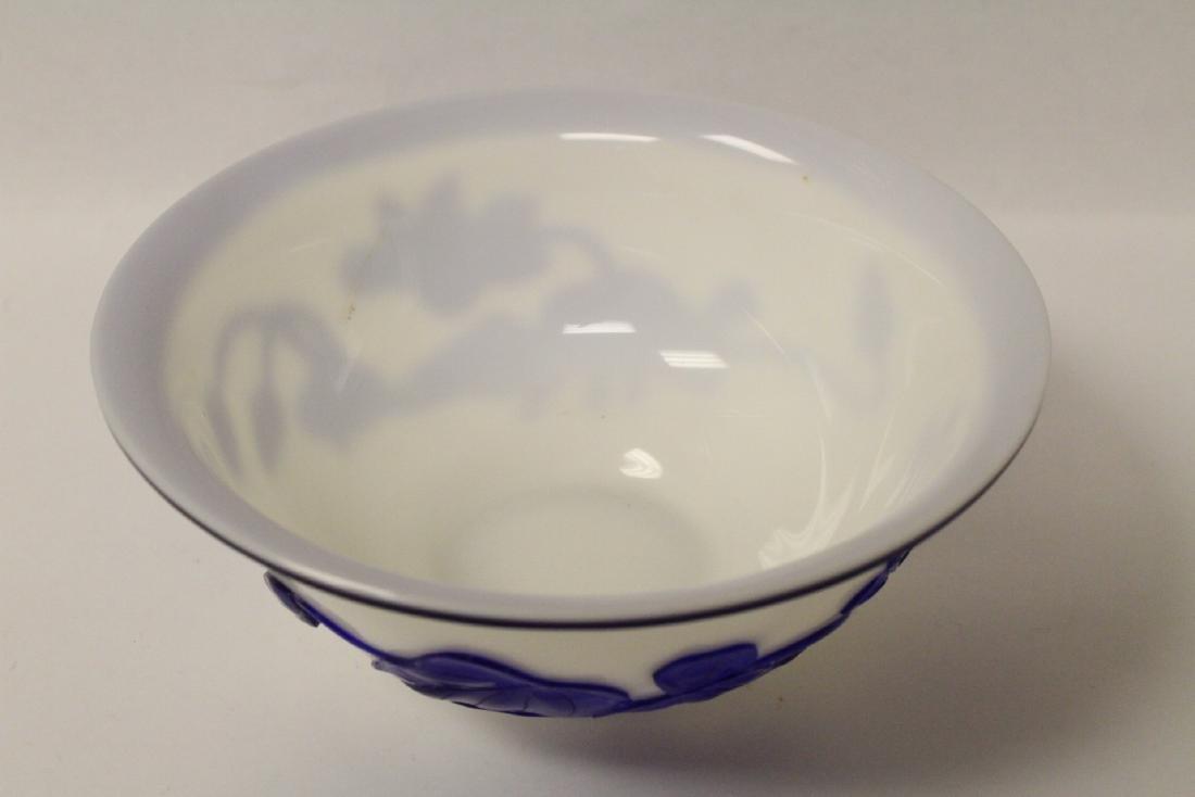 Blue overlay Peking glass bowl - 6