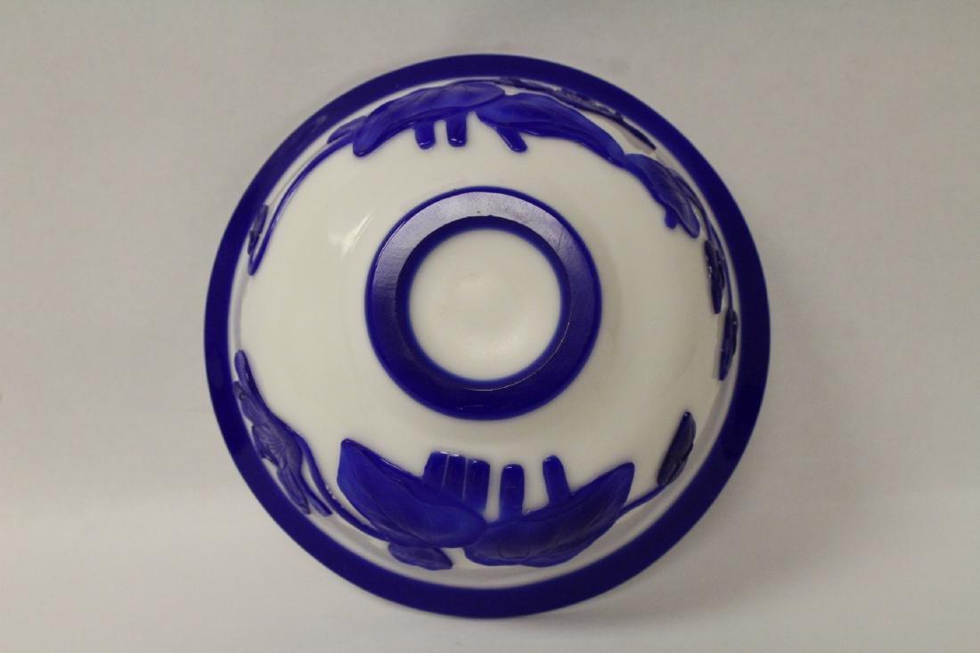 Blue overlay Peking glass bowl - 8