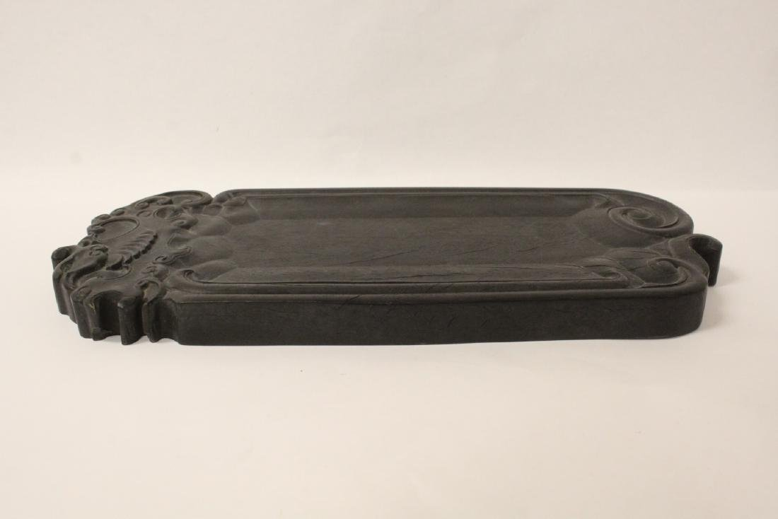 Chinese heavy rosewood carved inkwell