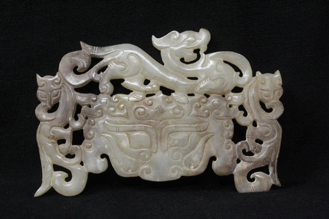 Large Chinese white jade plaque - 8