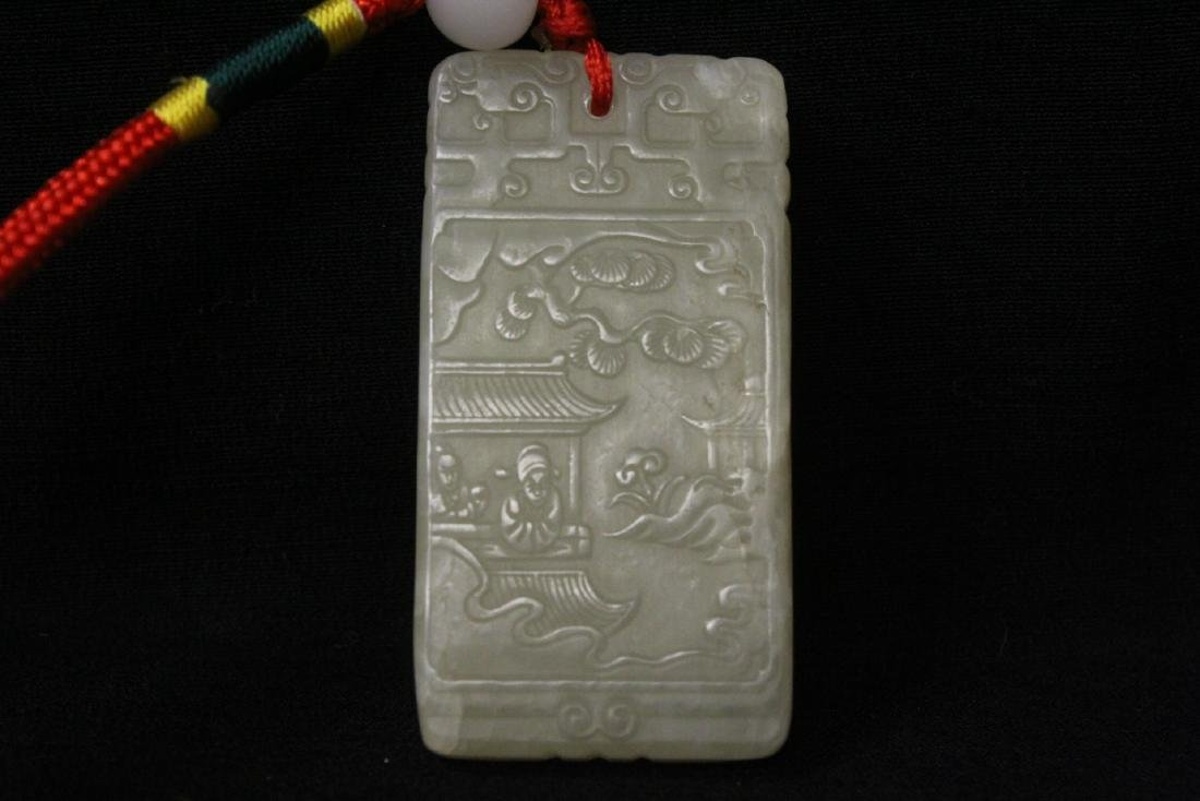 Chinese white jade carved plaque