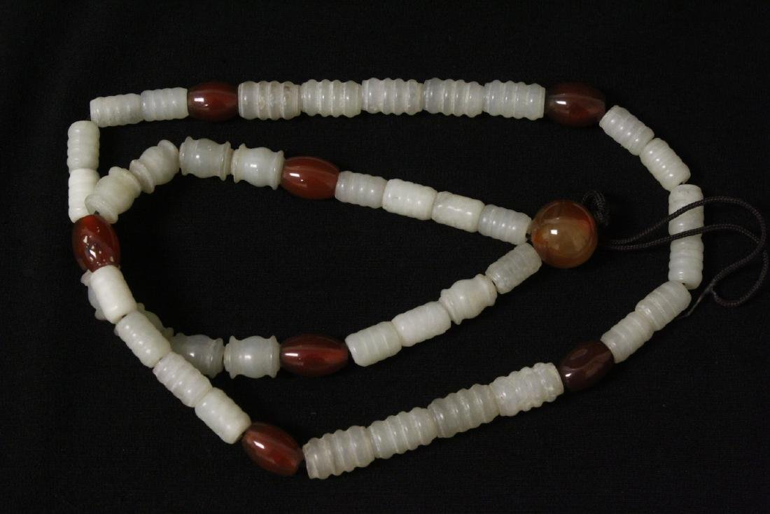 Chinese tubular celadon jade bead necklace - 5