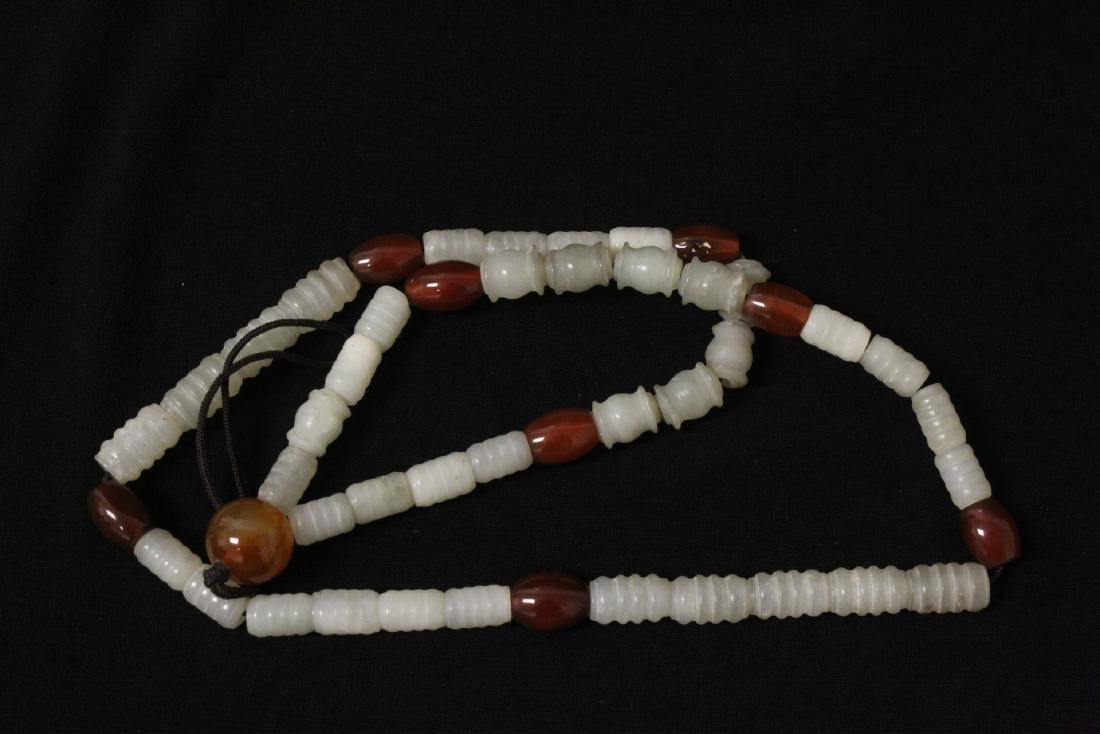 Chinese tubular celadon jade bead necklace - 6