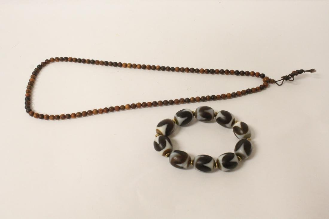 Chinese dzi bead bracelet & a huali wood bead necklace