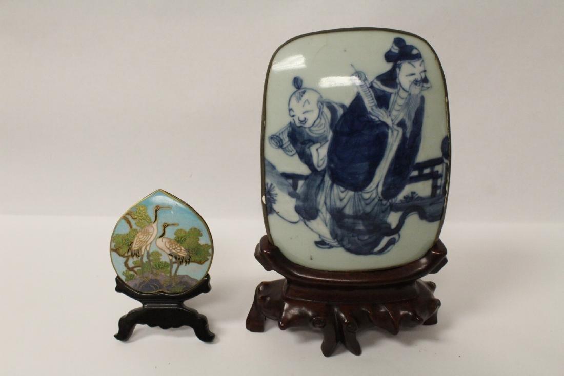 Antique porcelain plaque and a cloisonne plaque