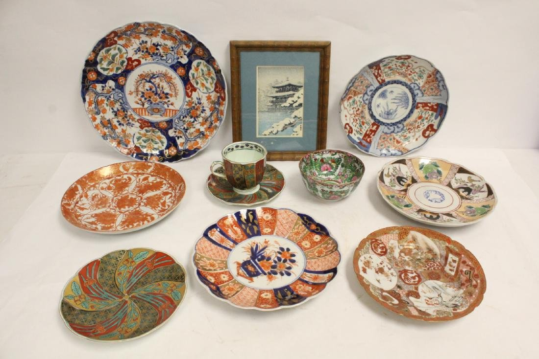 Lot of Japanese porcelain plates and a framed print