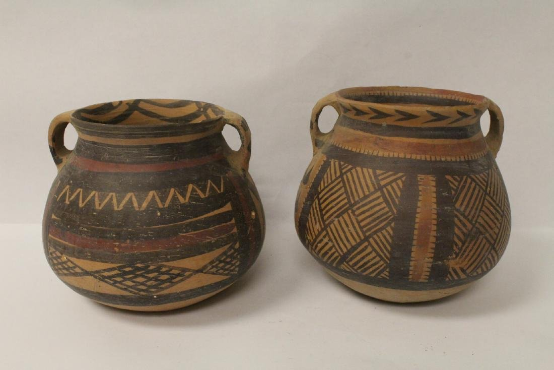 2 Chinese neolithic style pottery jars