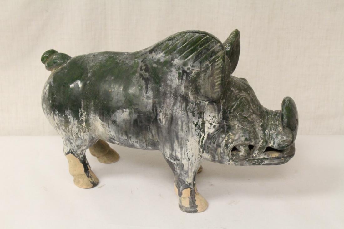 Han style green glazed boar