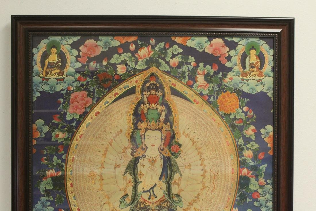A framed print on silk thangka - 2