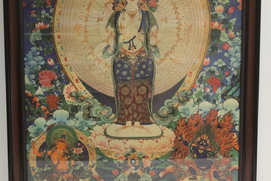 A framed print on silk thangka - 3