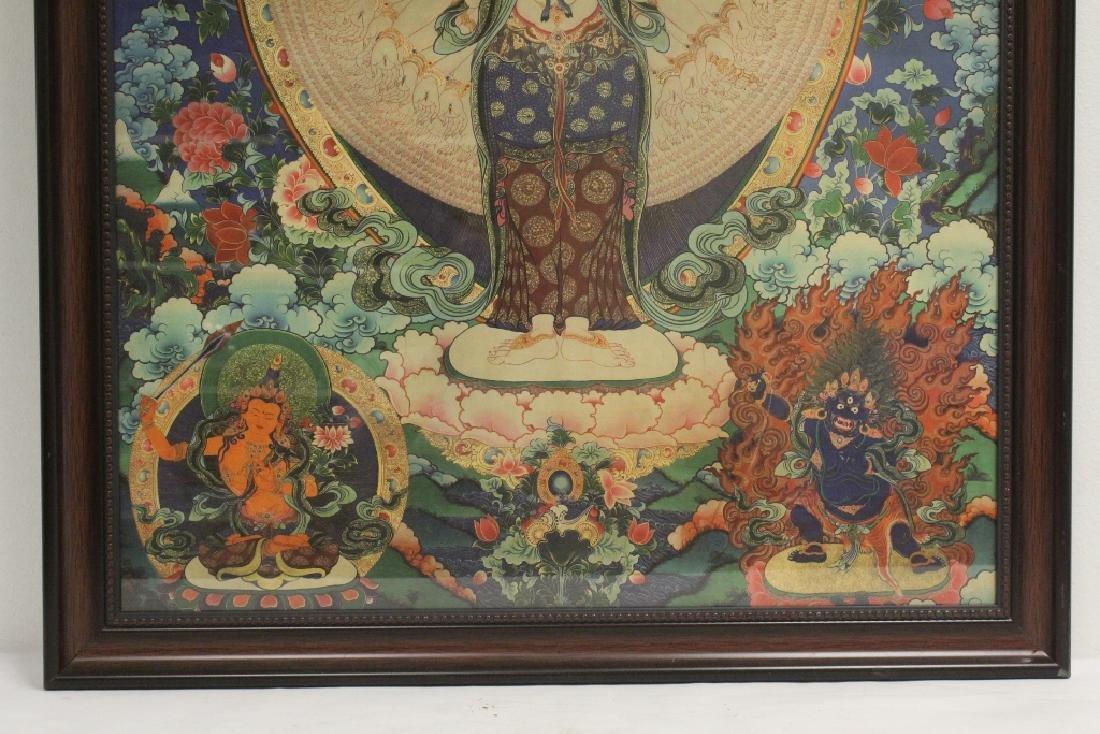 A framed print on silk thangka - 4