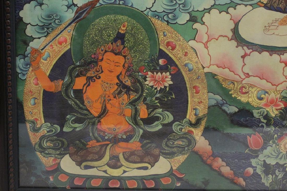 A framed print on silk thangka - 8