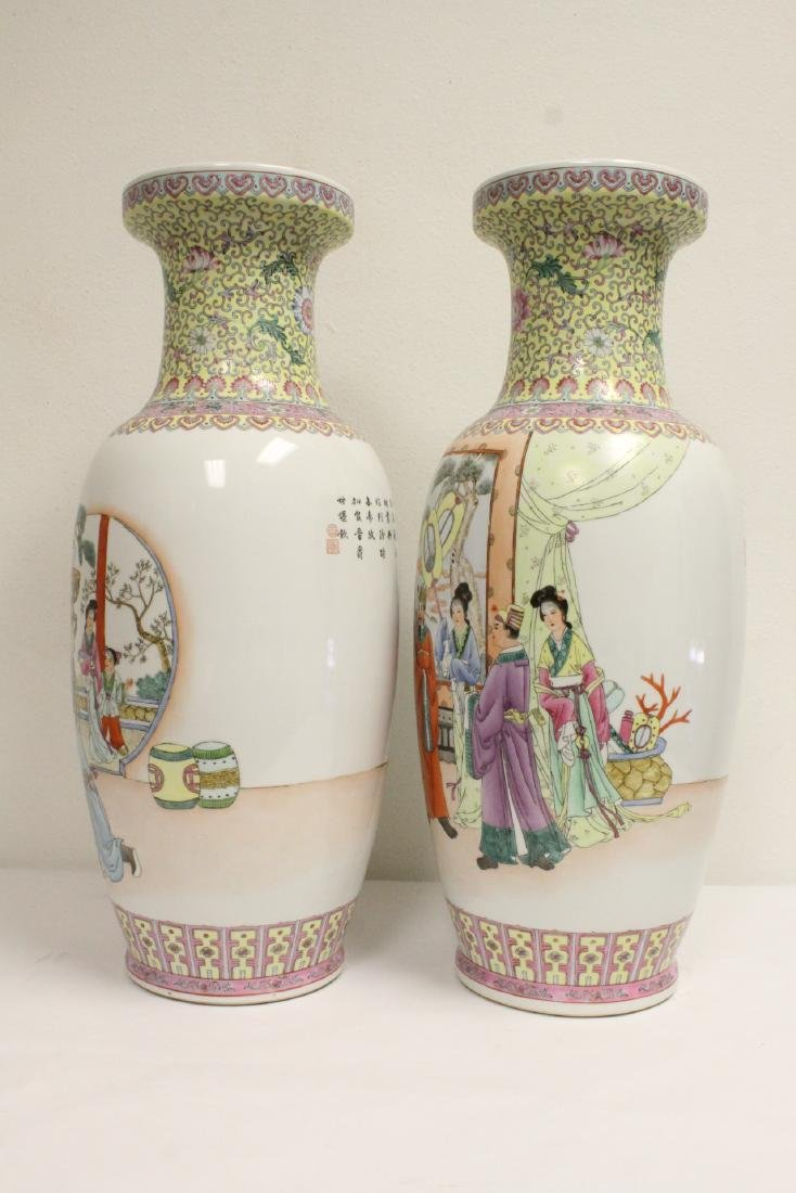 Pair Chinese famille rose porcelain vases - 3