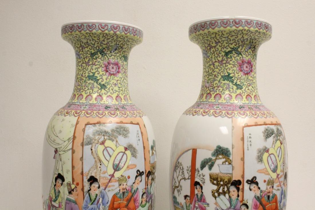 Pair Chinese famille rose porcelain vases - 9