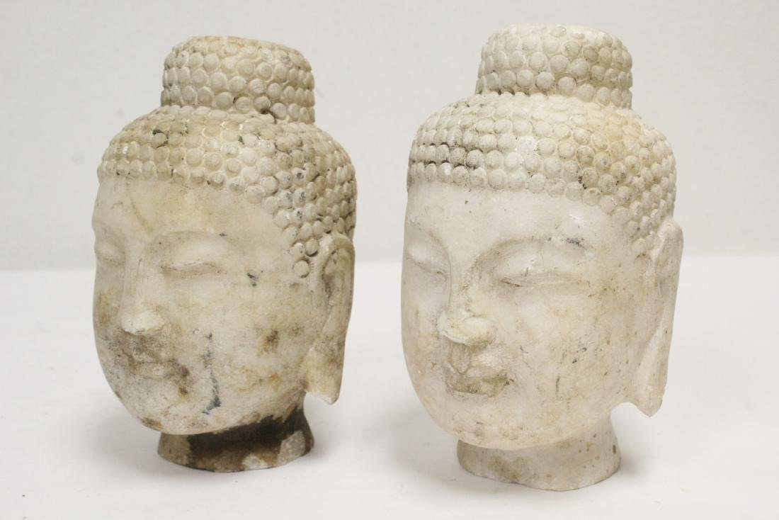 2 marble carved Buddha heads - 10