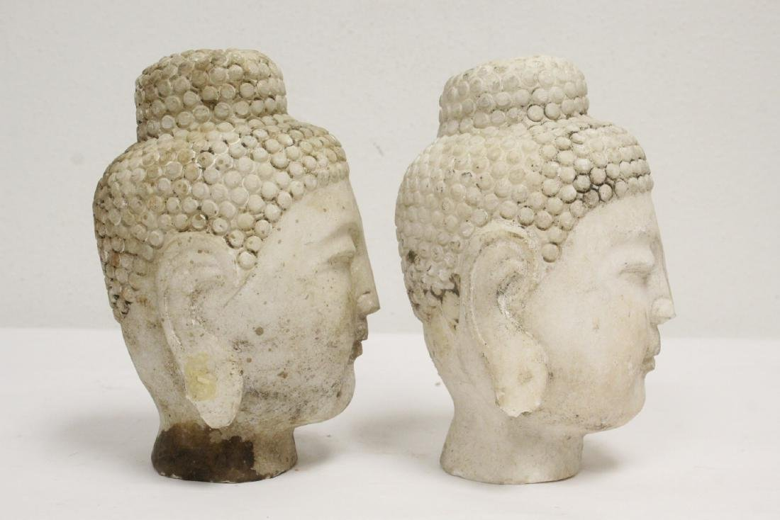 2 marble carved Buddha heads - 3