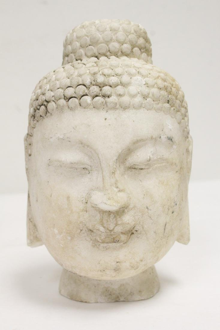 2 marble carved Buddha heads - 6