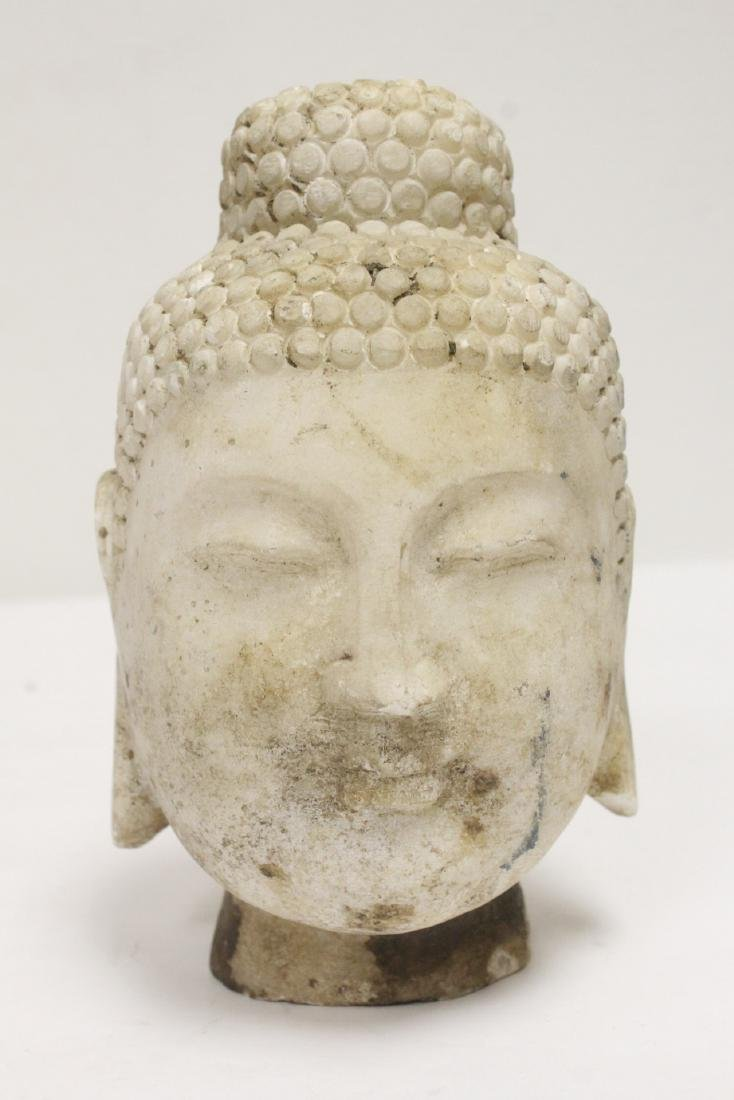 2 marble carved Buddha heads - 8