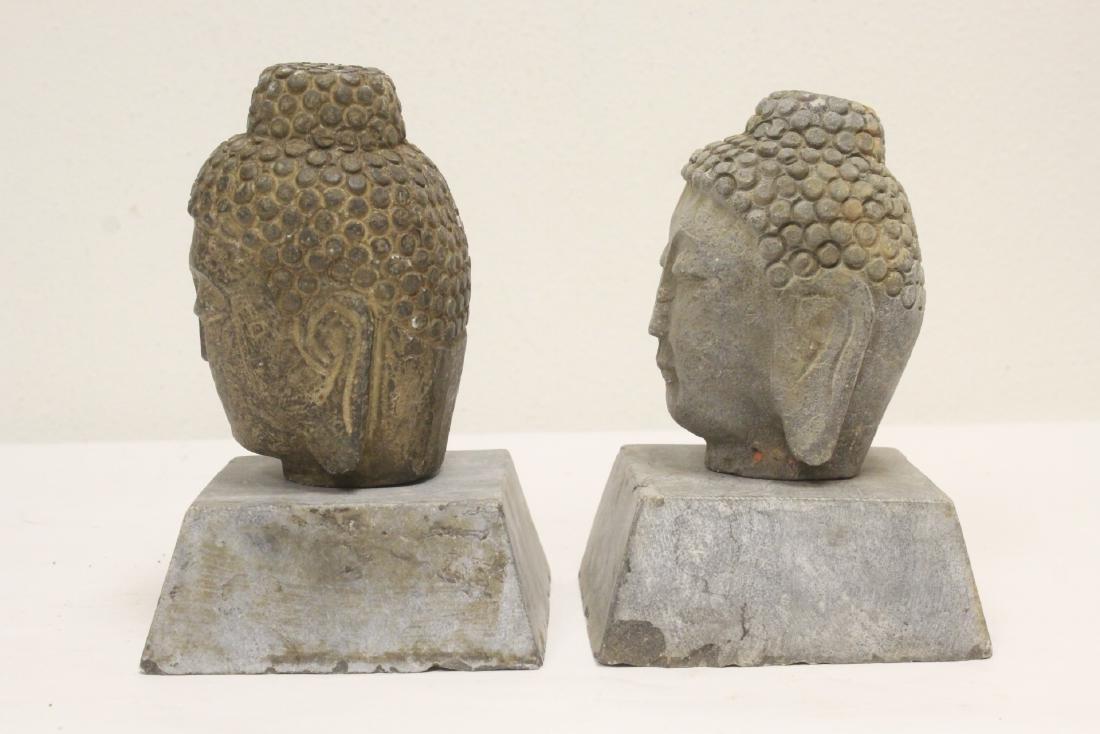 2 stone carved Buddha head - 2