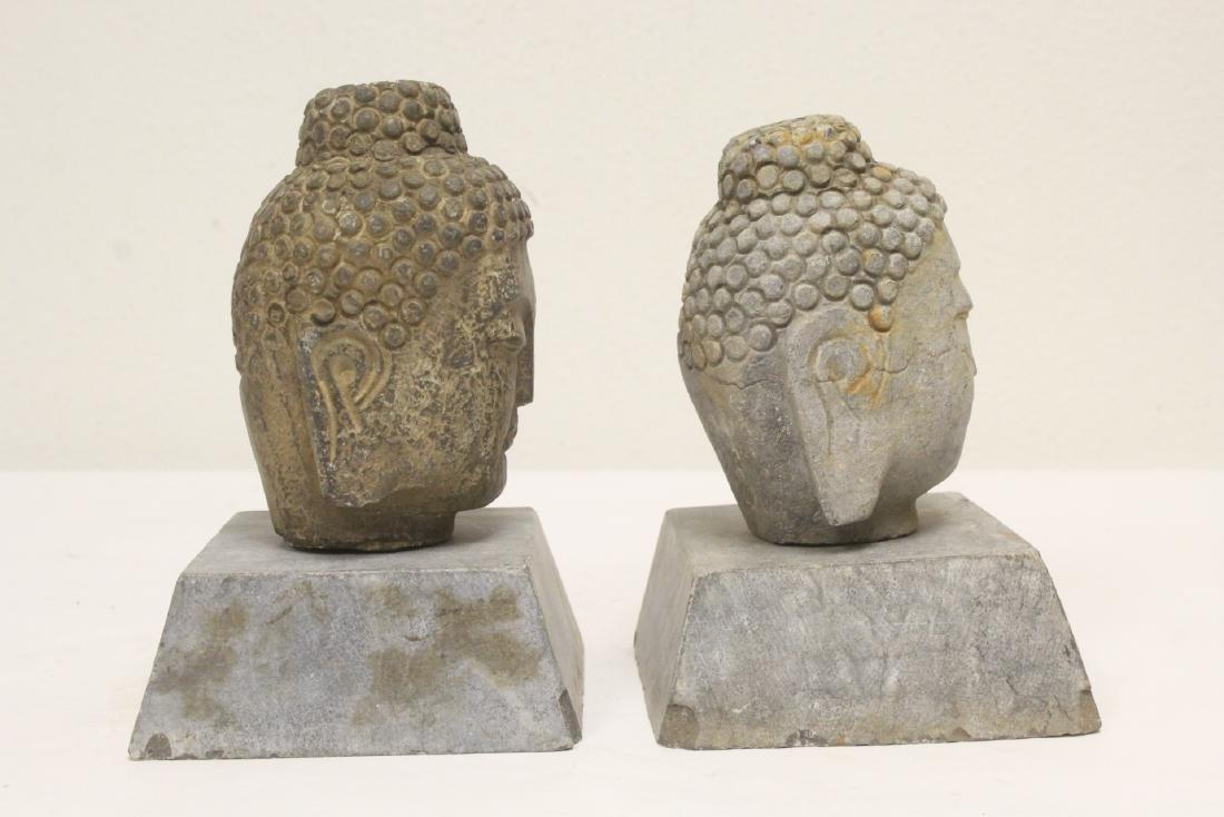 2 stone carved Buddha head - 3