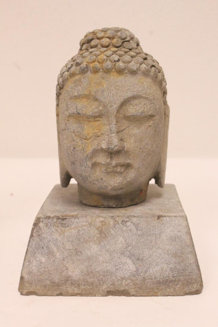 2 stone carved Buddha head - 6