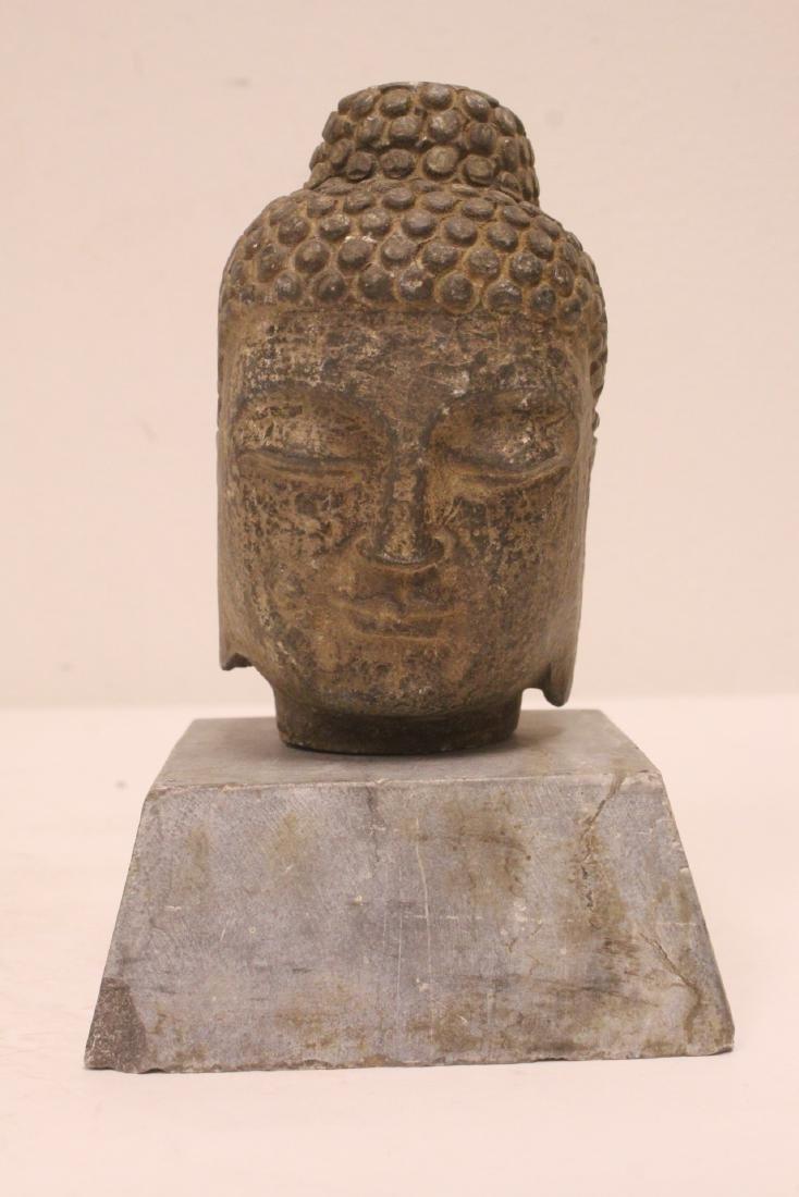 2 stone carved Buddha head - 8